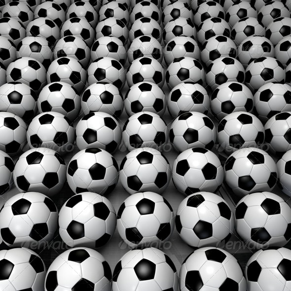 Field of Soccer Ball - 3D Backgrounds