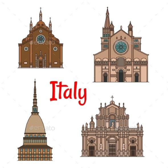 Italian Travel Landmark Building Icon Set
