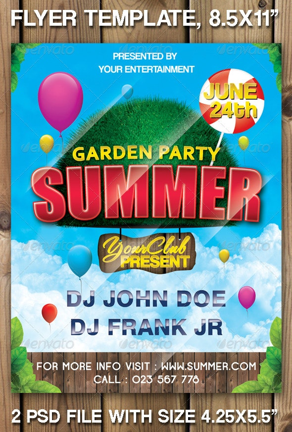 "Garden Party Summer ""Flyer Template"" - Clubs & Parties Events"