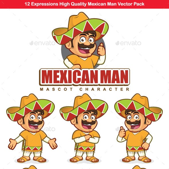 Mexican Man Mascot Character