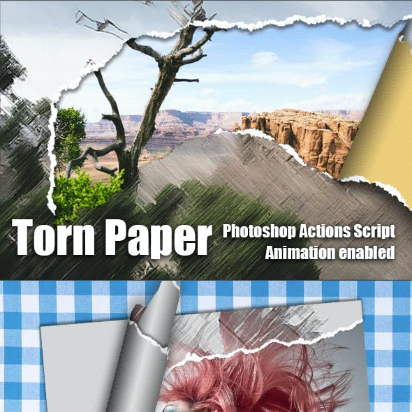 Torn Paper Animation Photoshop Add-on