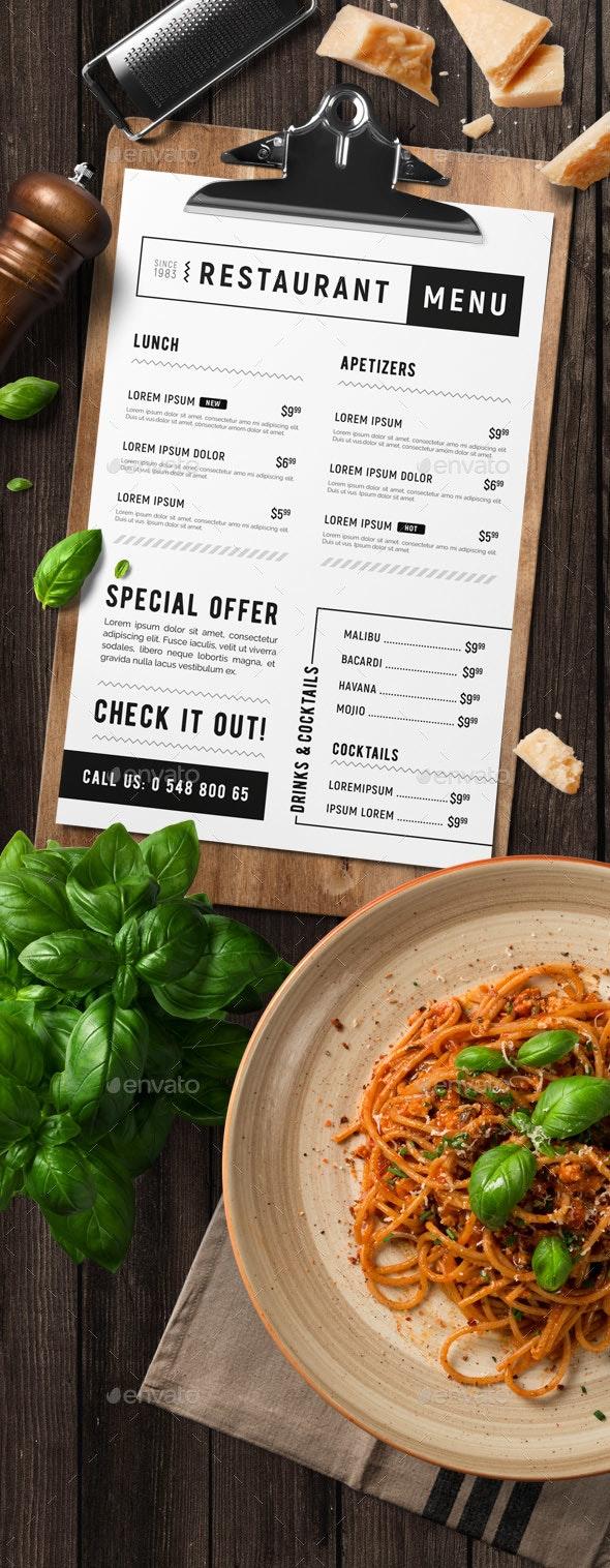 Minimal restaurant food menu - Food Menus Print Templates