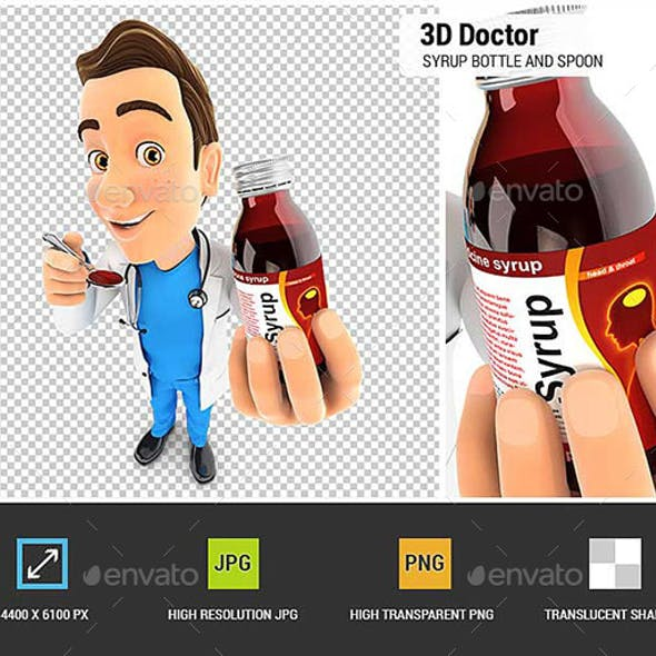 3D Doctor Holding Syrup Bottle and Spoon