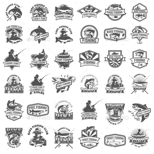 Big Set of Fishing Icons.