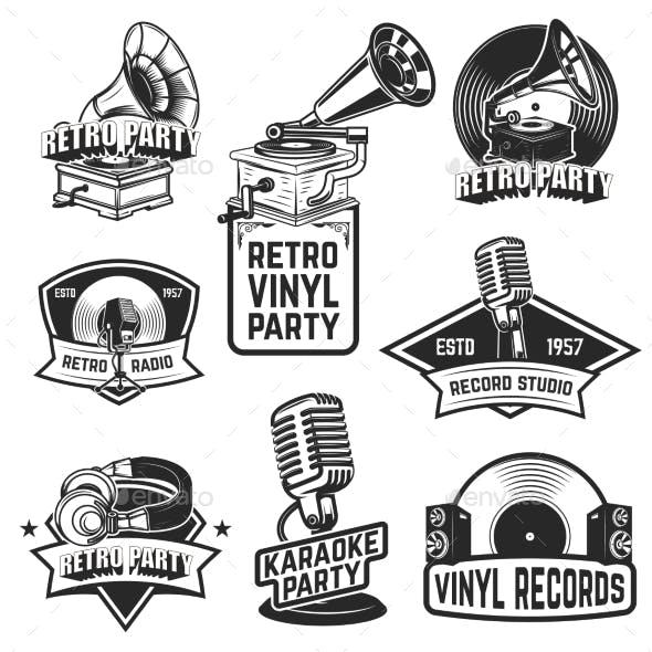 Set of Retro Party Emblems. Design Elements for