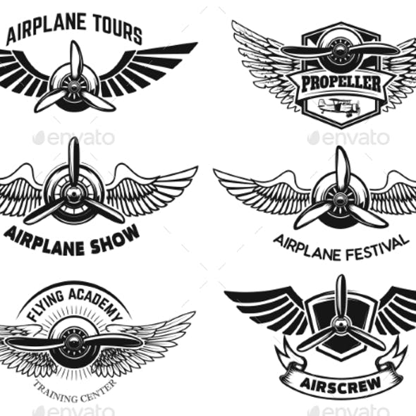 Set of Airplane Show Labels. Emblems with Wings