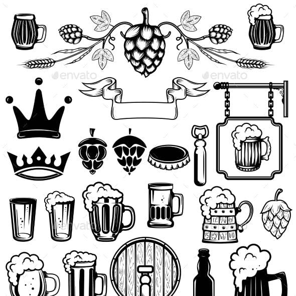 Set of Design Elements for Beer Labels. Beer Mugs