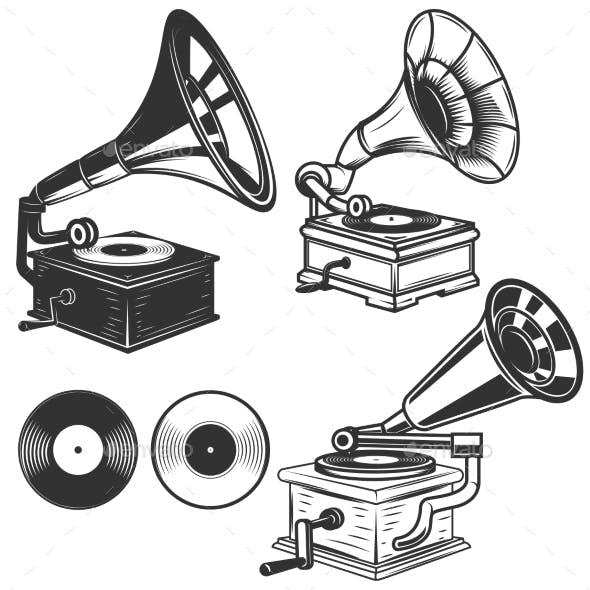 Set of Gramophone Illustrations on White