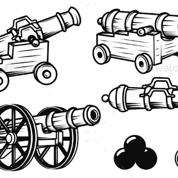 Set of Ancient Cannons Illustrations