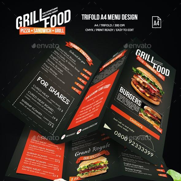 Grill BBQ Trifold Food Menu