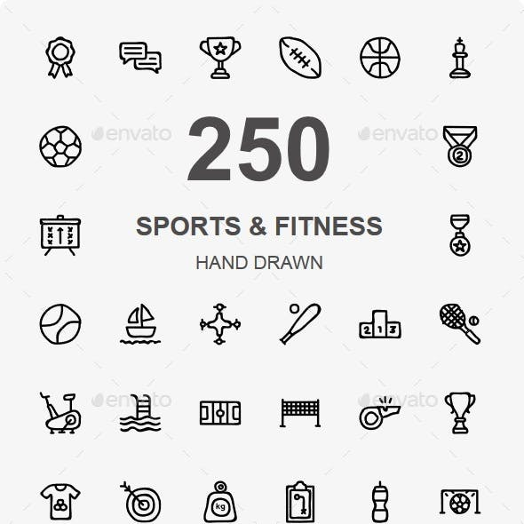 Sports and Fitness Hand Drawn