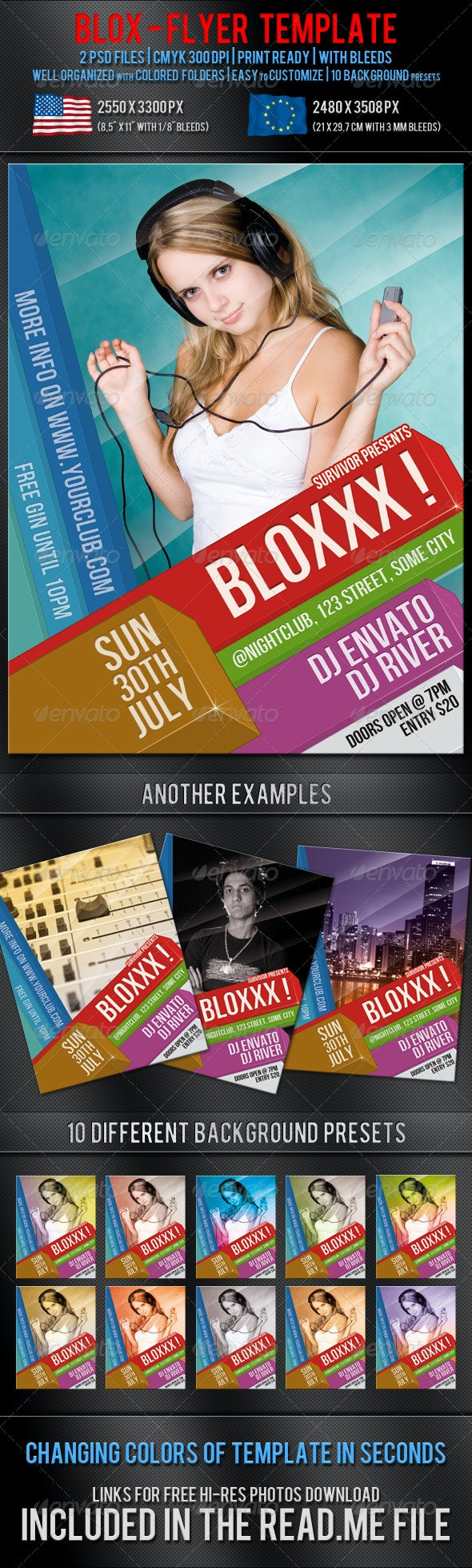 Blox Party Flyer Template - Clubs & Parties Events