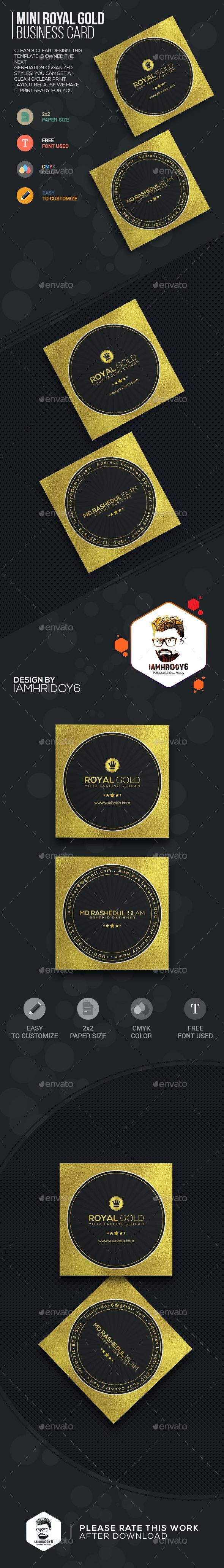 Mini Royal Gold Business Card - Business Cards Print Templates