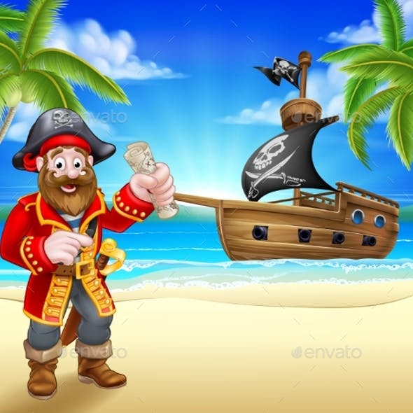 Pirate Cartoon Character on Beach