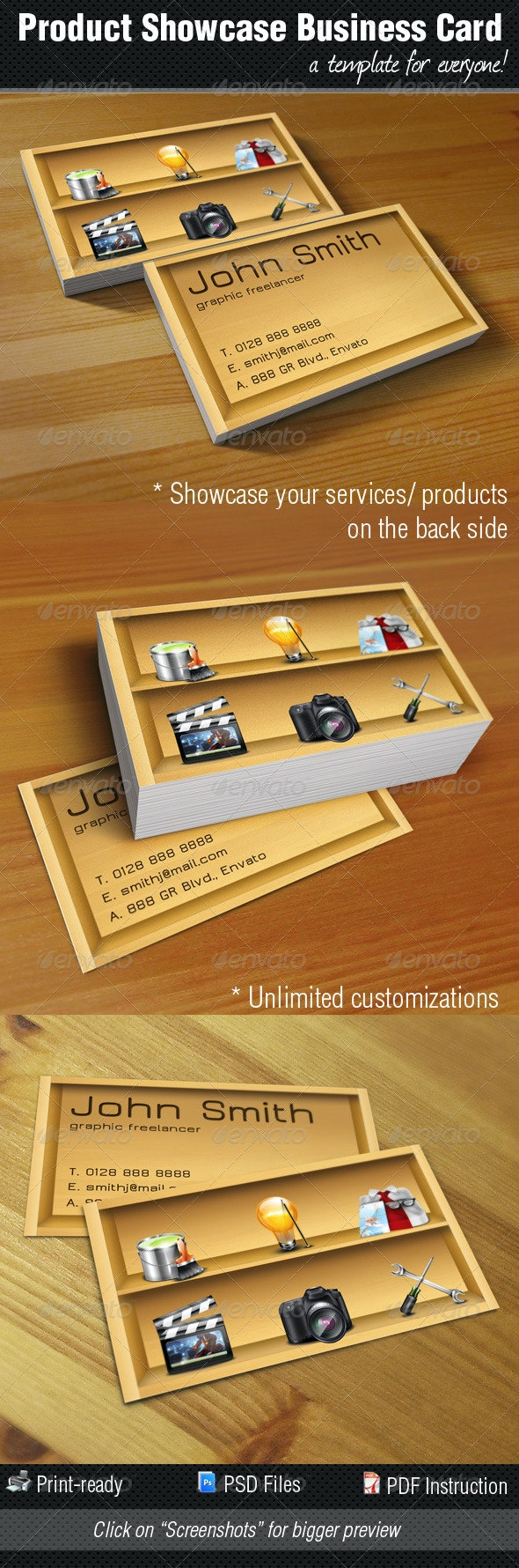 Product / Service Showcase Business Card - Creative Business Cards