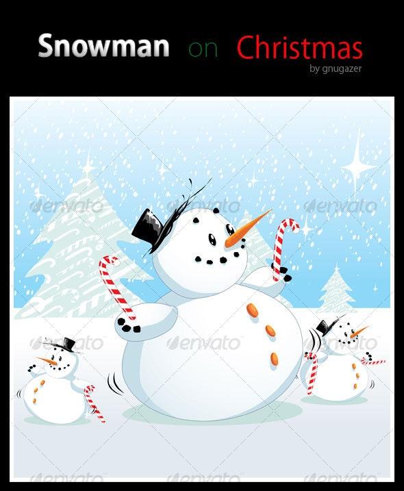 Snowman on Christmas - Christmas Seasons/Holidays
