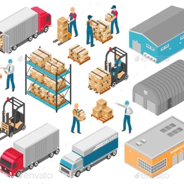 Isometric Warehouse Logistic Icon Set