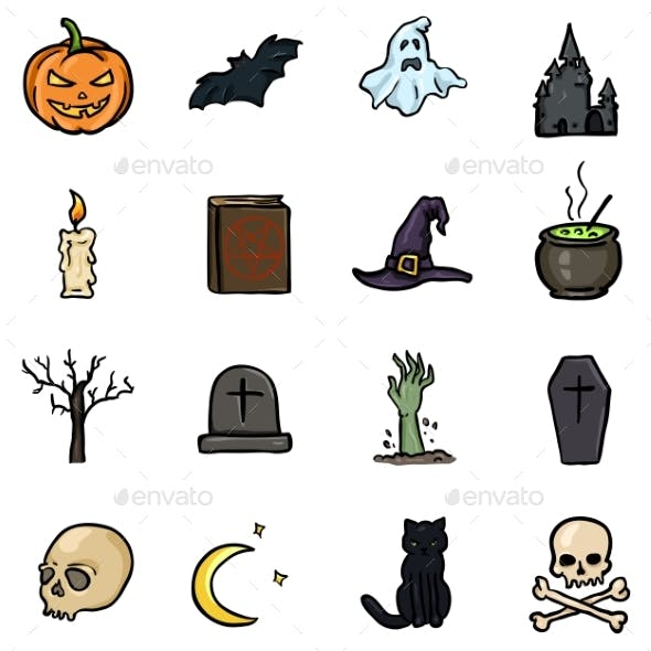 Vector Set of Color Doodle Halloween Icons
