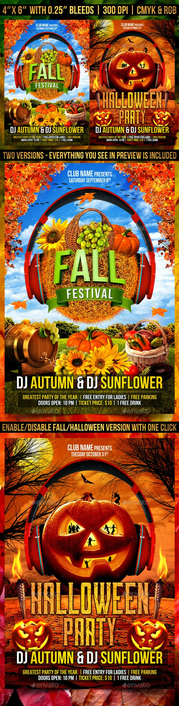 Fall and Halloween Flyer Template - Clubs & Parties Events