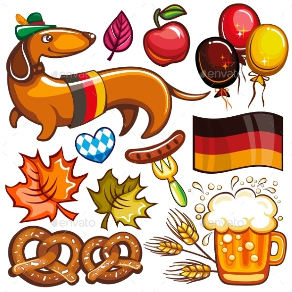 Oktoberfest Vector Set of Icons and Objects - Food Objects
