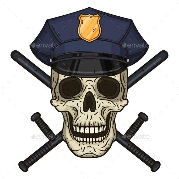 Vector Illustration of Human Skull in Police Cap