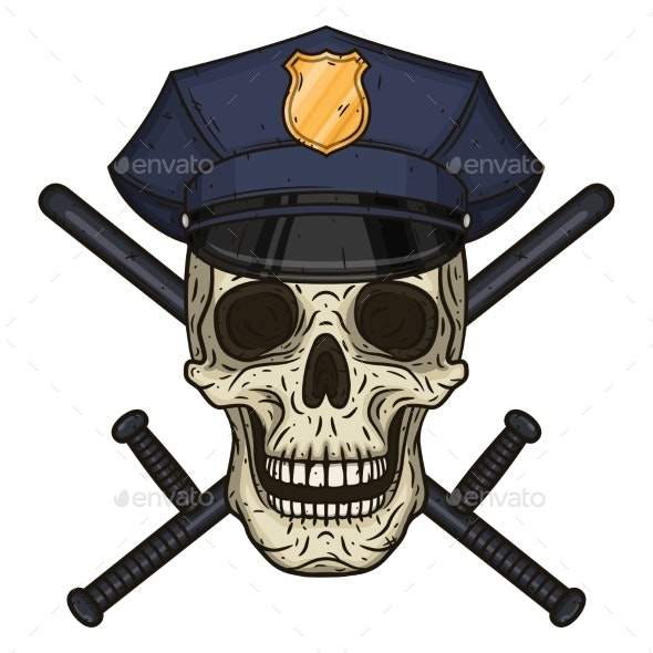 Vector Illustration of Human Skull in Police Cap - Miscellaneous Characters