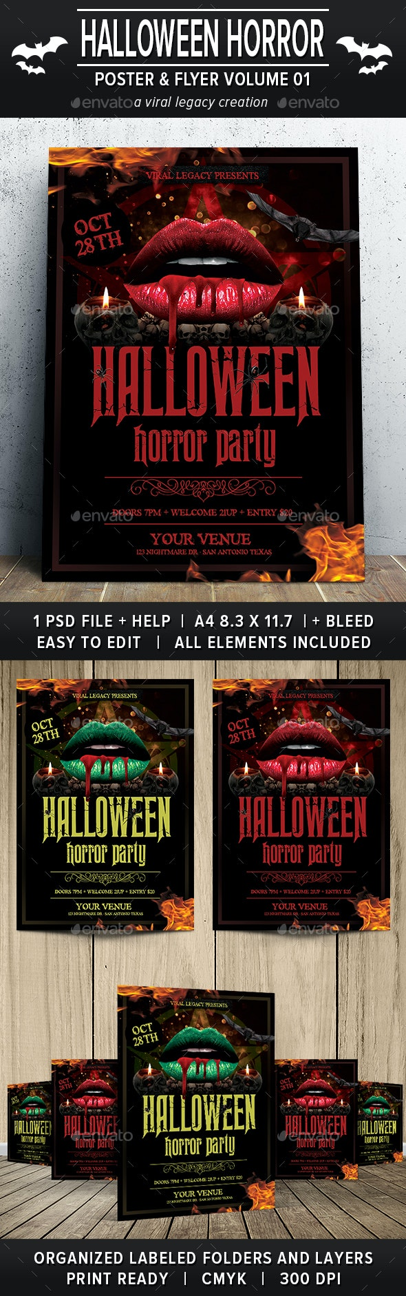 Halloween Horror Party Poster / Flyer V01 - Events Flyers