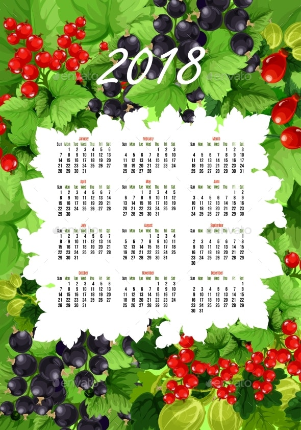 Vector 2018 Calendar of Fresh Berries and Fruits - Food Objects