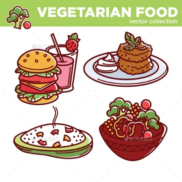 Vegetarian Food Vector Collection of Tasty Meals