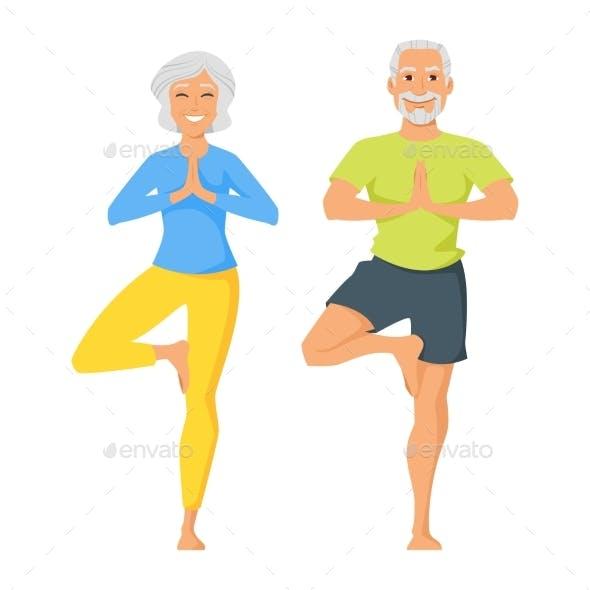 Senior Man and Woman Doing Yoga