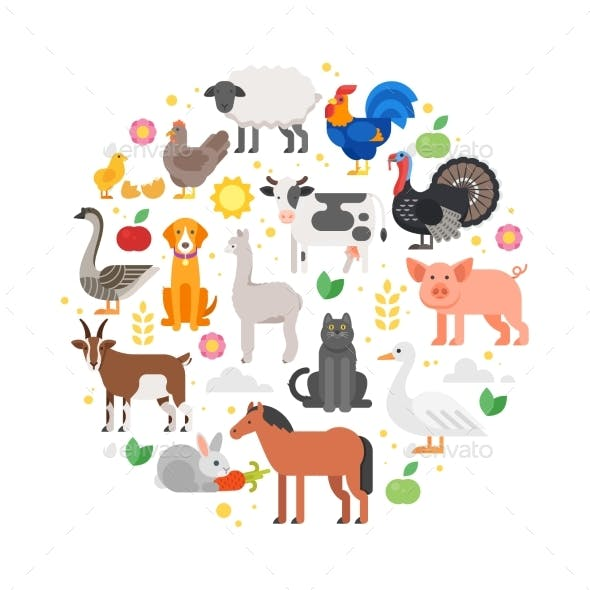 Round Composition of Farm Animals Icons.