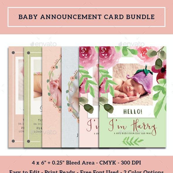 Baby Announcement Card Bundle