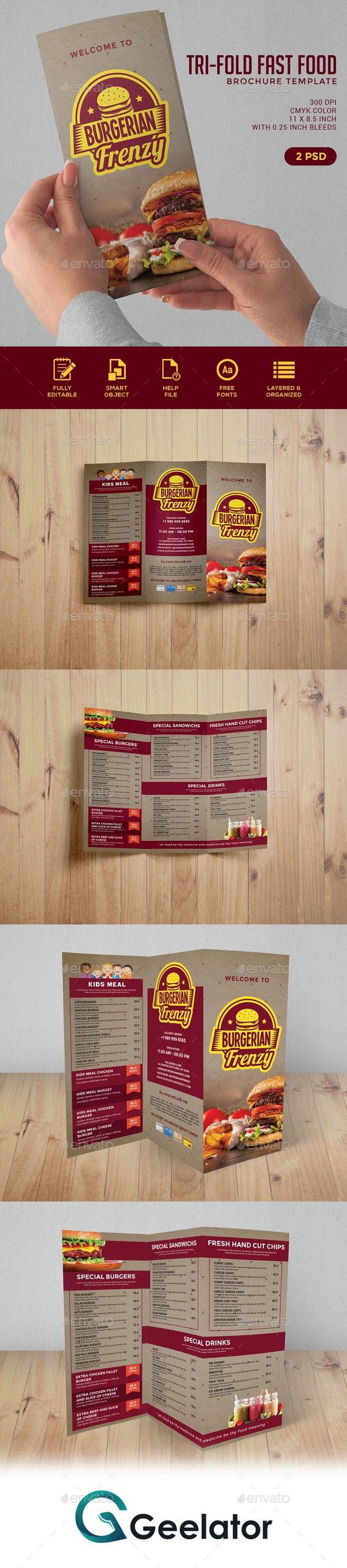 Trifold Fast Food Brochure - Food Menus Print Templates