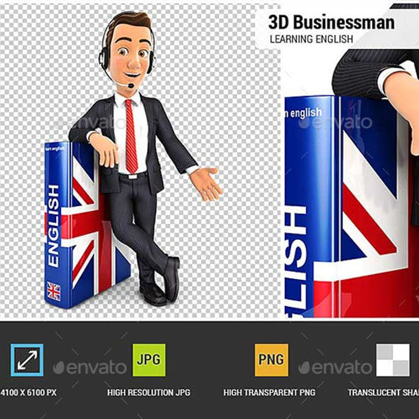 3D Businessman Learning English