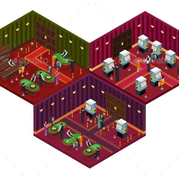People in Casino Isometric Concept