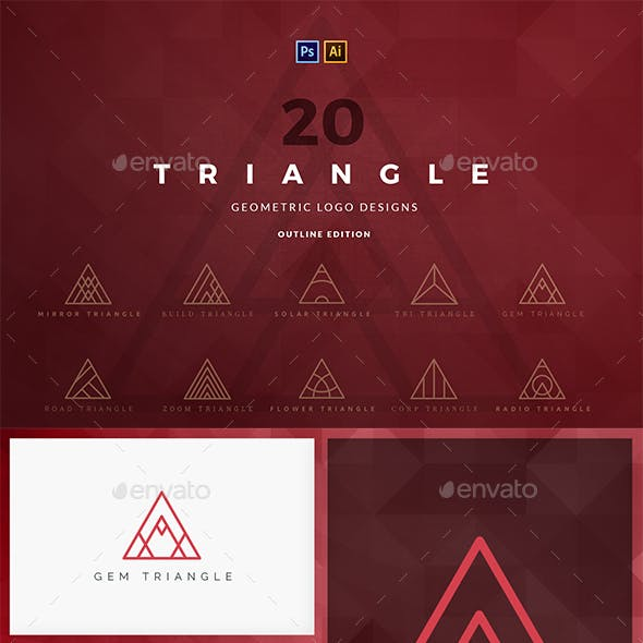 20 Triangle Logos - Filled Edition