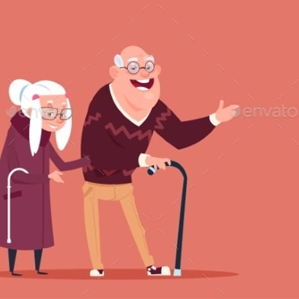 Senior People Walking with Stick