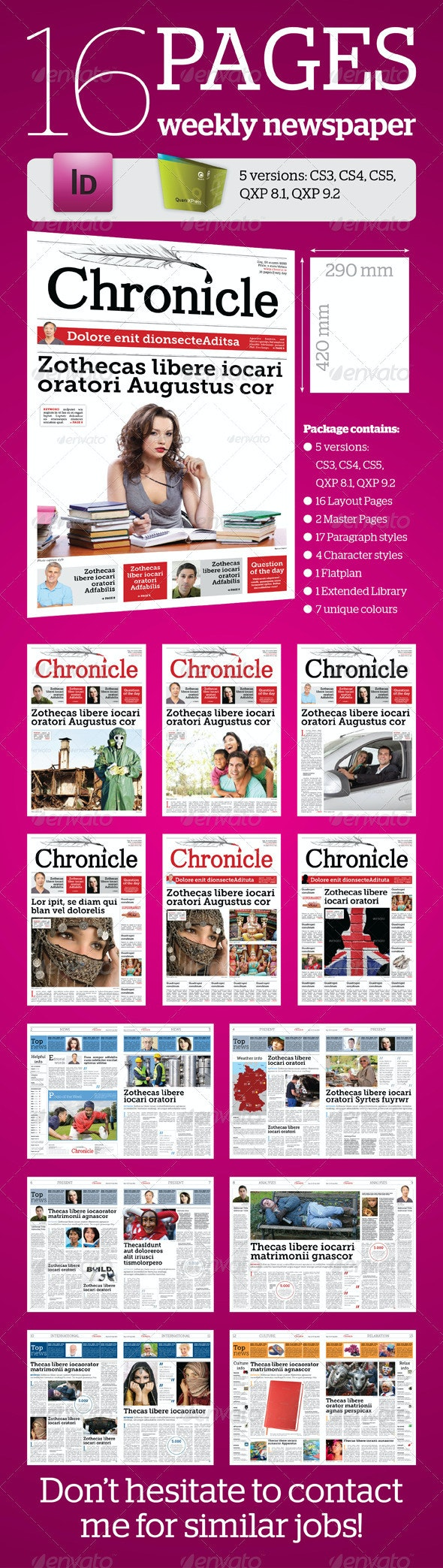 16 Pages Weekly Newspaper - Newsletters Print Templates