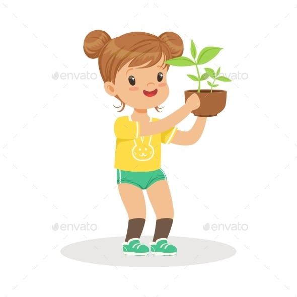 Girl Standing and Holding a Plant