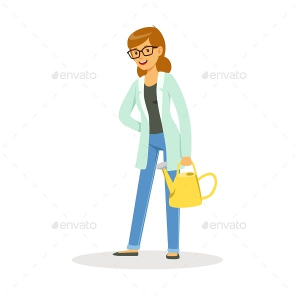 Teacher of Botany Standing with a Watering Can