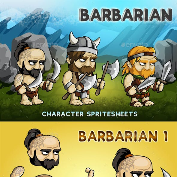 Barbarian 2D Game Character Sprite Sheet