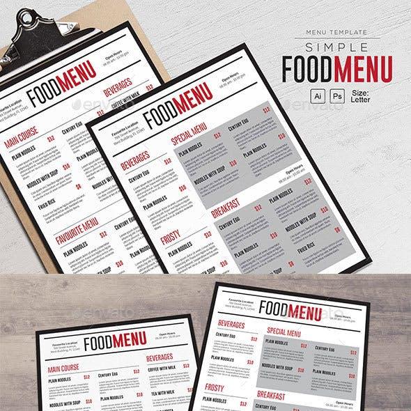 Simple FoodMenu Template