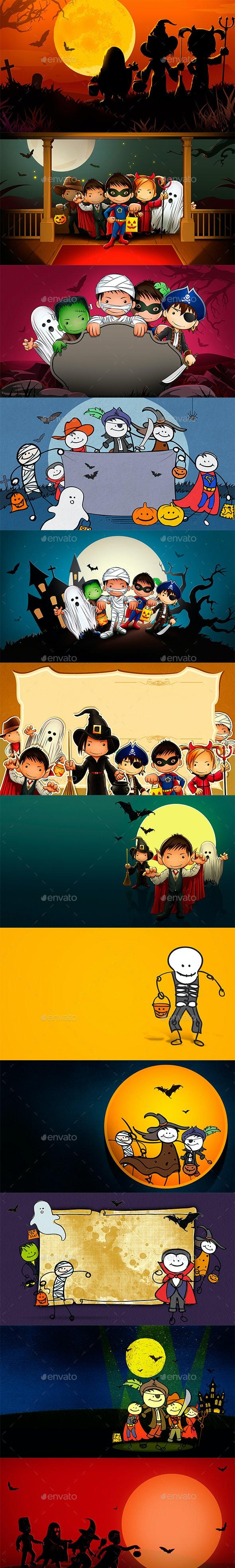 Kids Hallowen - Backgrounds Graphics