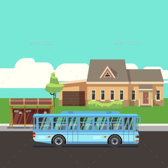 Residential House with Bus Stop and Blue Bus. Flat - Buildings Objects