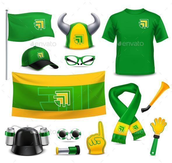 Sport Fans Supporters Realistic Mockup Accessories - Sports/Activity Conceptual
