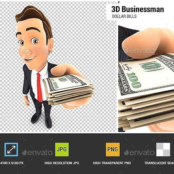 3D Businessman Holding a Stack of Dollar Bills