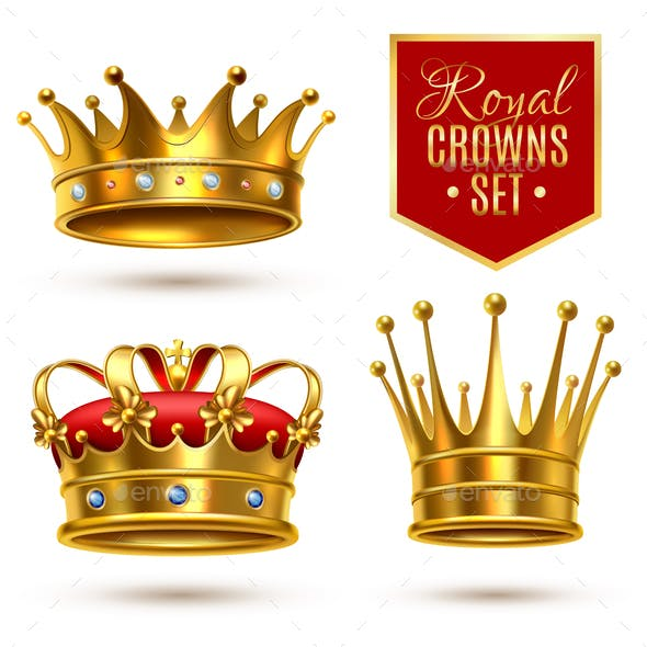 Realistic Royal Crown Icon Set