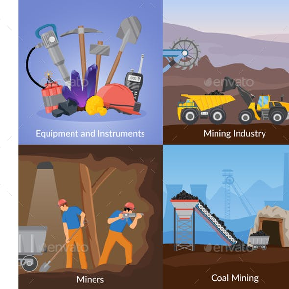 Mining Inductry Flat Design Concept