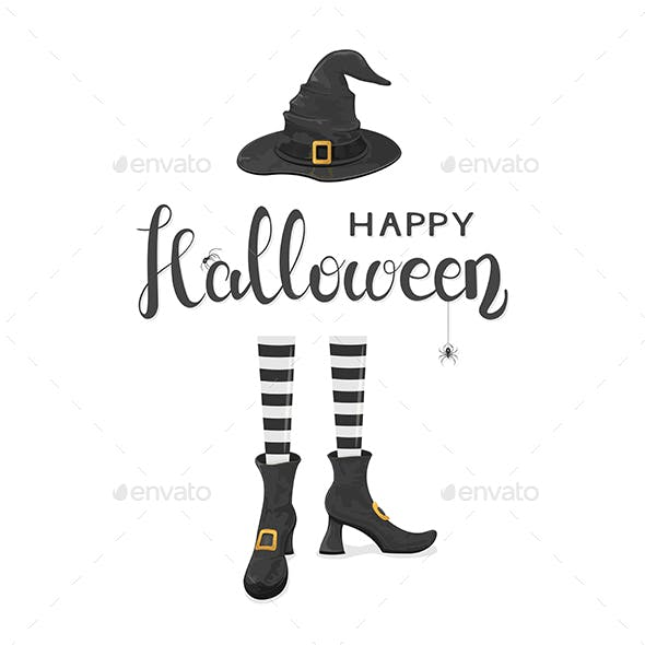 Halloween Theme with Witches Legs in Shoes and Hat