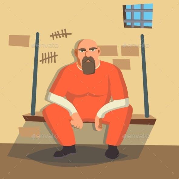 Man in Prison Vector